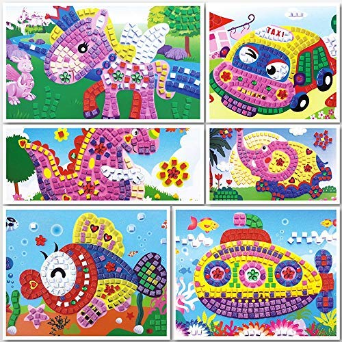 lizipai Mosaic Sticker Art for Kids Handmade Puzzles Craft Kits Angel Car Boat Animals - 6 Different -