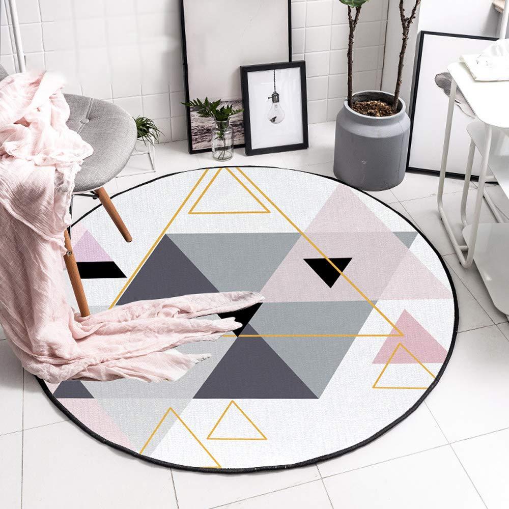 Comfot Flanell Runde Teppich Rutschfeste Teppiche Baby Kinder Playmat Decke Für Wohnzimmer Wohnkultur Grau-Rosa Dreieck (Multi-Größe),140CM