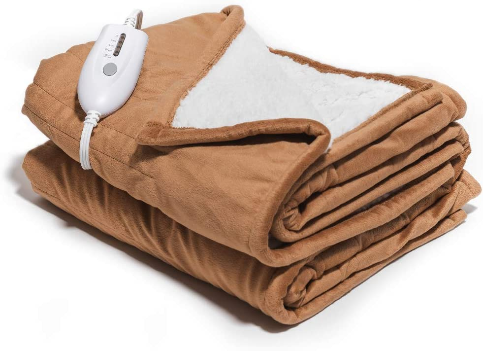 """Perfect Fit Heated Silky Plush Throw Blanket Sand Color 50/"""" x 60/"""""""