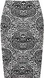WearAll Women's Various Prints (Aztec, Tartan, Leopard Stripe) Midi Skirts - Skull - US 8-10 (UK 12-14)