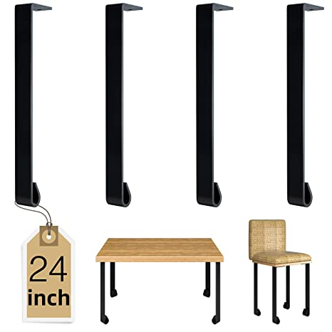 Luckin Heavy Duty End Table Legs 24 Inch Industrial Metal Sofa Table Leg Bracket Set Of 4 Diy Rustic Dining Table Legs Black