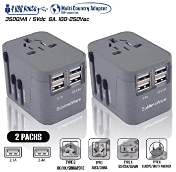The 220 Volt Plug Amazon Com >> Travel Adapter Power Plug Outlet International Travel 2 Pack Sand Grey W 4 Usb Ports Work For 150 Countries 220 Volt Adapter Type Cagi For
