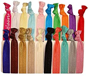"""Hair Ties Ponytail Holders - 20 Pack """"Solid Assortment"""" No Crease Ouchless Elastic Styling Accessories Pony Tail Holder Ribbon Bands - By Kenz Laurenz"""