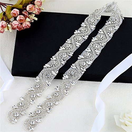FANGZHIDI Wedding Applique Belt for Dress, 1 Yard Bridal Rhinestone Sash with Crystal Bead Pearls Trim for DIY- Best Gift for Women, Suit for Decorate Evening Gown by Sewing on/Iron on (Silver) ()