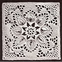 Vintage Crochet PATTERN to make - Bedspread Motif Block in Puritan Three-Dimensional Design. NOT a finished item. This is a pattern and/or instructions to make the item only.
