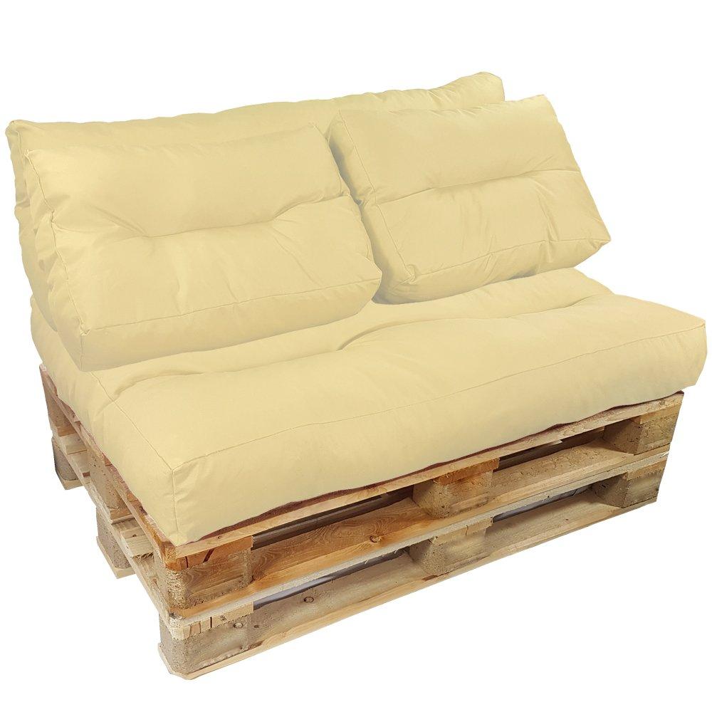 proheim Palettenkissen Lounge 4-teiliges Set 1 Sitzkissen + 3 Rückenkissen in Creme Sitzpolster für Europaletten Paletten-Sofa