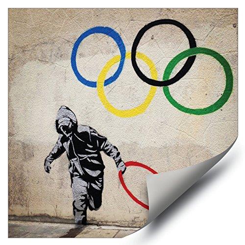 2012 Olympic Poster - Banksy Street Graffiti London Olympics 2012 Ring Thief HD Vinyl Wall Art Poster Decal Sticker