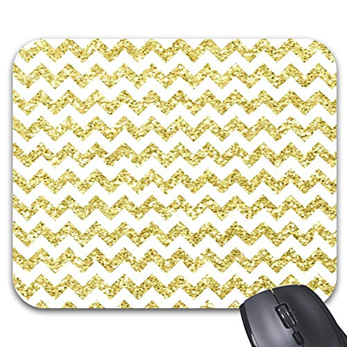 Goldaisy Gold Glitter Chevron Background Mouse Pad Stylish Office Computer Accessory 9.84 x 7.86