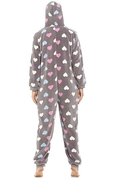 1d358a7482 Camille - Damen Schlafanzug-Overall mit Buntem Herzmuster - Sehr weich - Grau  42/44: Amazon.de: Bekleidung