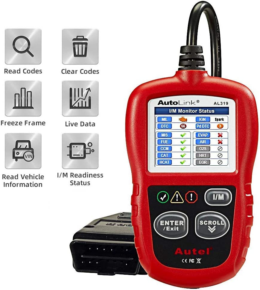 Autel Autolink AL319 Bus Can Diagnosis Multimarca 2 EOBD Auto Scanner Lee y Borra Códigos de Error de Automóviles con Interfaz Estandar OBD II 16 Pines, AL 319