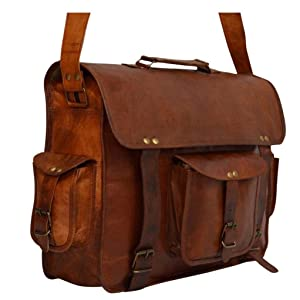 Leather Messenger Vintage Leather Laptop Briefcase for Men & Women. 16