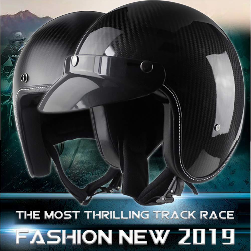 57-64Cm QZFH Retro Carbon Fiber Crash Motorcycle Motorbike Helmet with Sun Visor,Open Face Half Helmet Lining Can Be Completely Disassembled