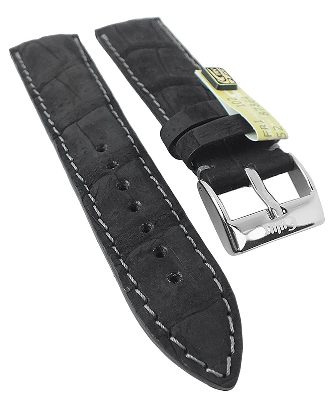 Kaiman Nubuk Ersatzband Uhrenarmband 20mm - 22mm | Kaiman-Leder schwarz - matt 30385 - Stegbreite:20mm - Schließe:Silbern
