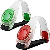 MAXIN 2pcs/pack Bras léger lumineux LED, Silicone réfléchissant Running Gear, Bracelet LED Glow dans le Dark - bande de slap de sécurité pour le vélo Runing, jogging haute visibilité. (Vert et rouge)