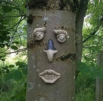 Garden Mile Garten Baum Gesicht Neuheit Figur Garten Deko Lustiges