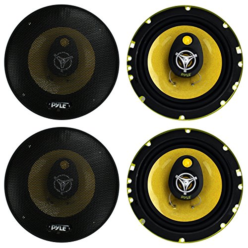 4) New PYLE PLG6.3 6.5'' 560-Watt 3-Way Car Audio Coaxial Speakers Stereo Yellow by Pyle