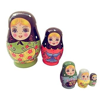 5-teilig # 1 Geschenke F/ü r Kinder und Freunde 5// 6// 7// 8// 10-tlg Homyl Russische Matroschka Matruschka Babuschka Holzpuppen