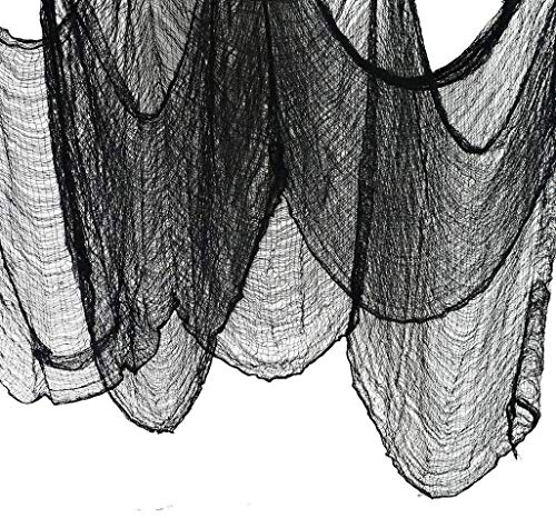 (JCT Halloween Creepy Cloth Party Decor&Supplier-Superisize of 5.5yards X 79 inch, Black Creepy Cloth for Doors,Windows,Ledges,Overhangs,Gates, Spooky Haunted Houses Decor Hallowmas Decorative)