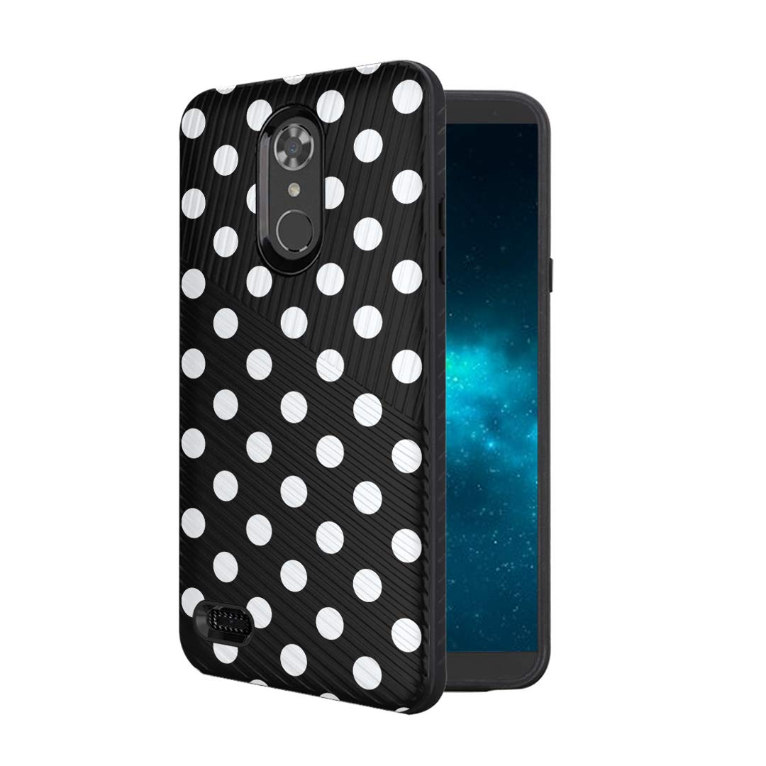 Moriko Case Compatible with LG Aristo 3, 3 Plus, Rebel 4 LTE [Armor Anti Slip Drop Protection Dust Shock Proof Shockproof Black Case Protector Cover] for LG Aristo (Polka Dot Black)