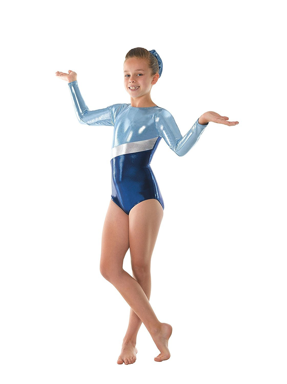 Tappers & Pointers - Body da ginnastica femminile metallizzato brillante, con strisce argentate GYM/10