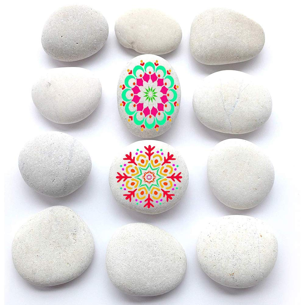 BigOtters Painting Rocks, 12 Rocks 2-3 inches Painting Kindness Rocks Mandala Painting Favors, About 3.7 pounds