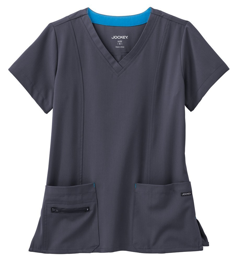 Modern Fit Collection By Jockey Women's Zipper Pocket V-Neck Solid Scrub Top X-Large Charcoal