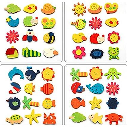 Jef Colour Wooden Cartoon Or Nature Theme Fridge Magnets ( Set Of 40 Random Magnets )