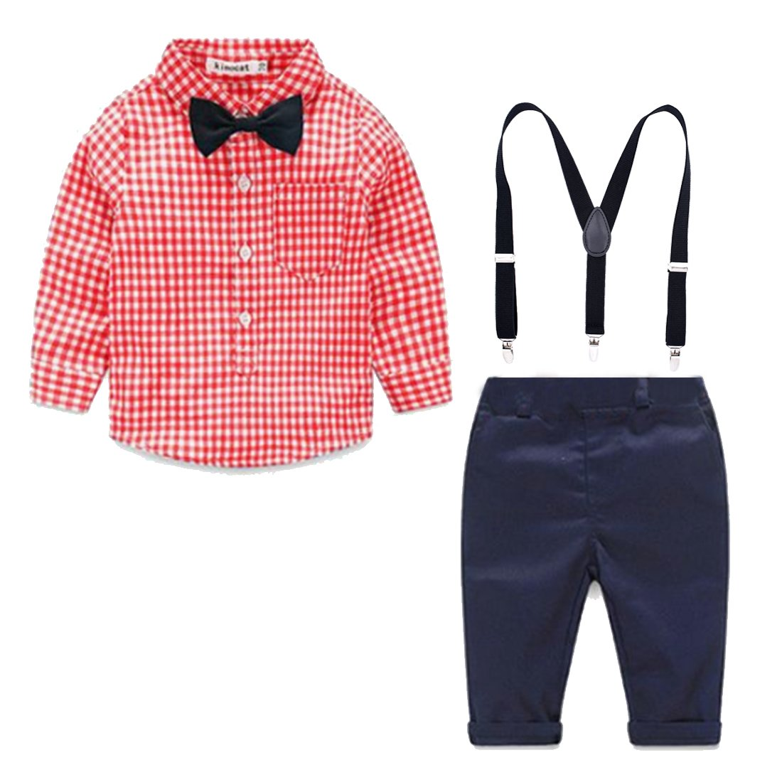 Simple /& Elegant Suspender and Bow Tie Set for Boys Girls Children Pink PD