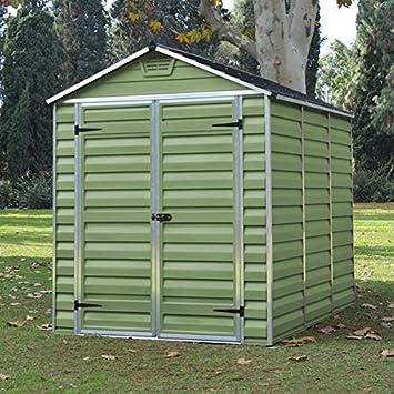 6x8 Green Plastic Skylight Garden Apex Shed   UV Treated U0026 Double Doors    By Waltons