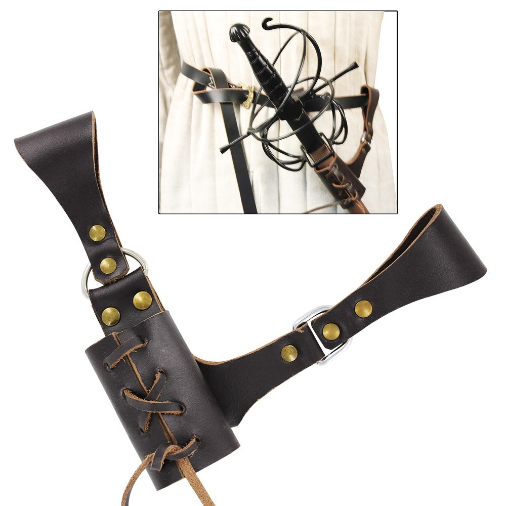 Deluxe Adult Costumes - Pirate Renaissance medieval umber brown leather rapier sword frog