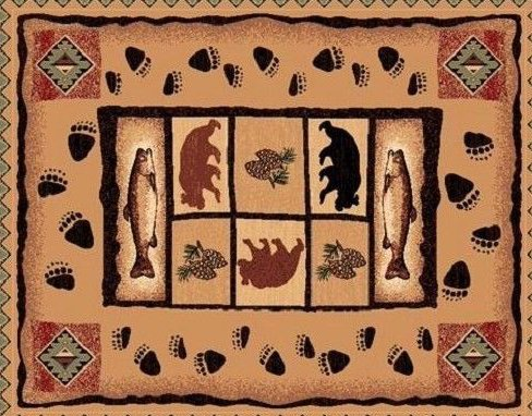 2 X 3 Country Theme Fish Bear Paws Tan Brown Mat Rug Entry by Persian Rugs