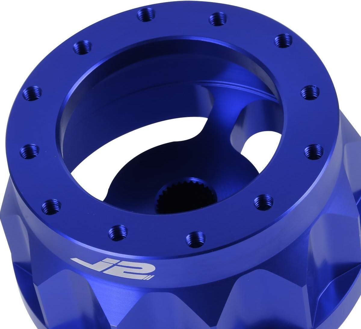 J2 Engineering J2-HUB-OH124-BL 2 6-Bolt Aluminum Steering Wheel Hub Adapter Blue For 92-95 Civic Integra