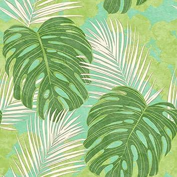 Arthouse Tropical Palm Trees Green Metallic Wallpaper 906802