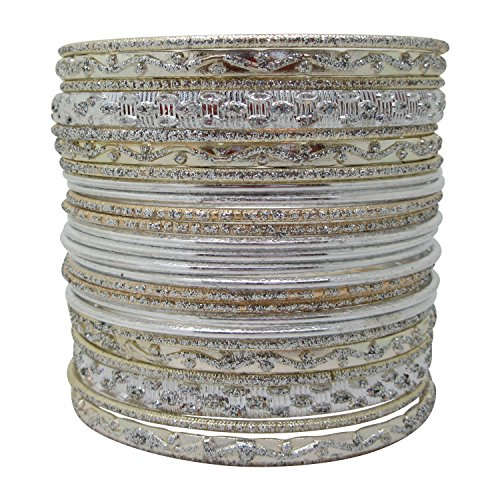 Set of Silvertone Bangle Bracelets for Women