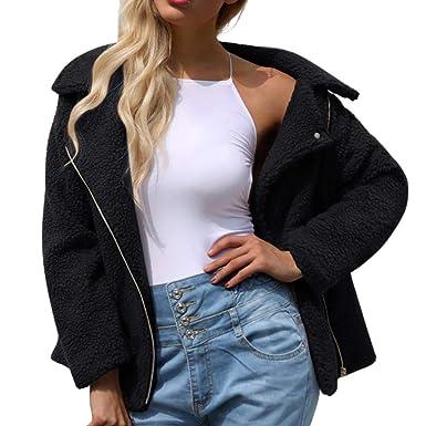 31e7dc157d8 Longra 2018 Womens Ladies Warm Artificial Wool Coat Zipper Jacket ...