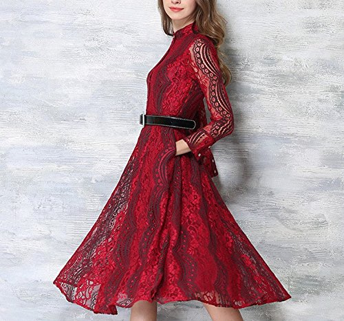 T Long Swing Slim Summer Pure Shirt Red Sleeved Stylish Atmosphere Dress Bobbycool ApRqW
