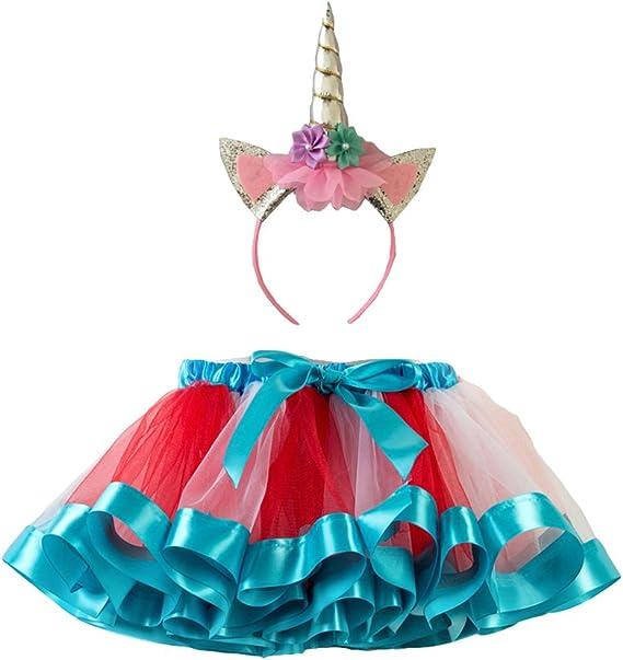 FENICAL Disfraz de Falda de tutú de Arco Iris para niña Disfraz de ...