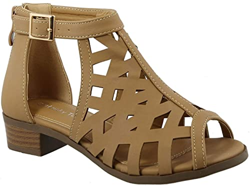 781a575fae3 TOP Moda Jerry-82 Women's Open Toe Buckle Strap Low Chunky Block Heel  Cutout Gladiator Sandals
