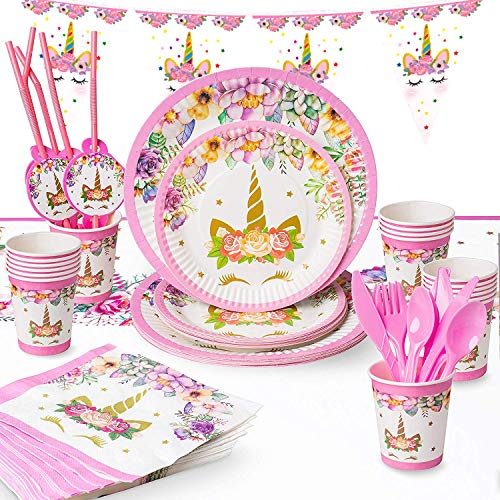 (Unicorn Party Supplies Set - Birthday Party Decorations Tableware for Kids - Disposable Table Cover, Plates, Cups, Napkins, Utensils & Happy Birthday Banner (Serves 6,90 Pieces))