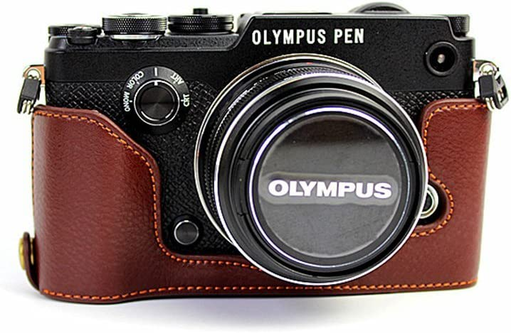 PEN-F Case, BolinUS Handmade Genuine Real Leather Half Camera Case Bag Cover for Olympus PEN-F Bottom Opening Version + Hand Strap - Coffee