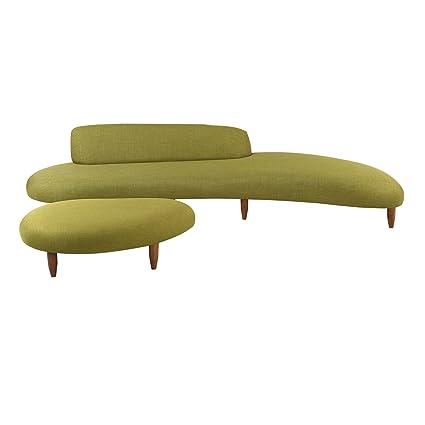 Kardiel Kidney Bean Mid Century Modern Sofa U0026 Ottoman, Atomic Moss  Twill/Walnut