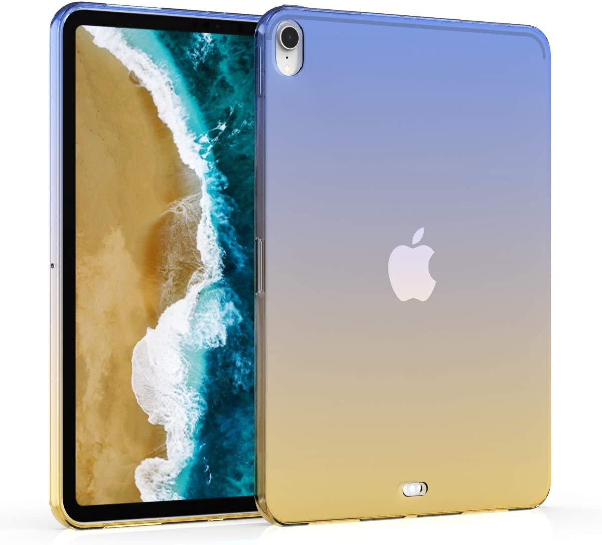 "kwmobile TPU Silicone Case Compatible with Apple iPad Pro 11"" (2018) - Soft Flexible Shock Absorbent Cover - Bicolor Blue/Yellow/Transparent"