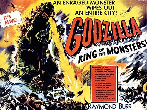 MOVIE FILM GODZILLA PULP MONSTER HORROR THRILLER JAPAN BURR KING PRINT BB8259