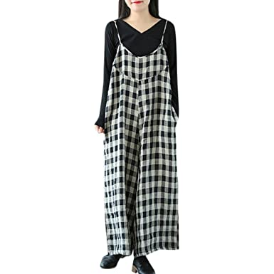 86a7ed146d Women Casual Oversized Strap Check Plaid Pockets Jumpsuits Playsuits  Jumpsuits Black