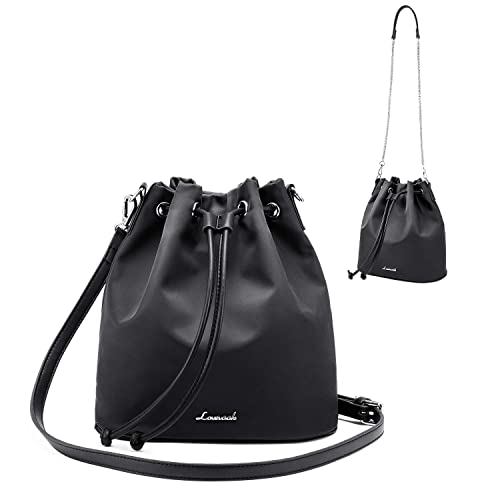 6b241aaaa0f1 LOVEVOOK Drawstring Handbag Bucket Bags for Women Oxford Nylon with 2-Style  Strap Black