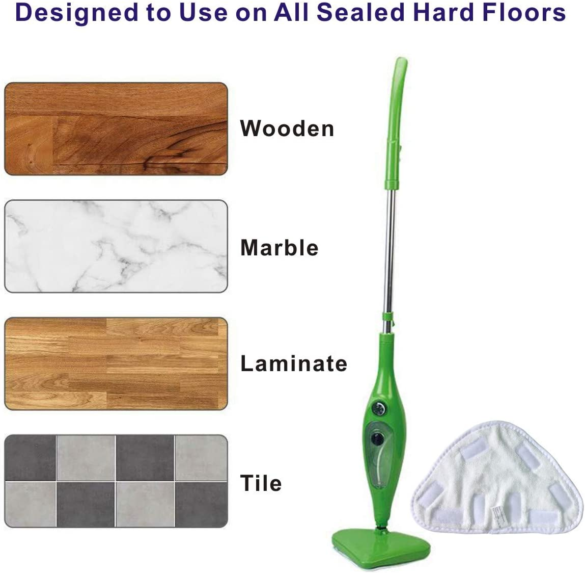 Easy Funny 1//3X Pads for H20 H2O HD Steam Mop Floor Replacement Microfibre Head 3