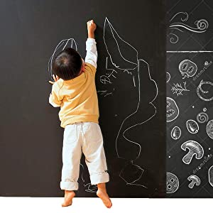 "CUSFULL Self-Adhesive Blackboard Removable Chalkboard Wall Sticker for Home,Office & Decor 35.4"" x 78.7""-Black"