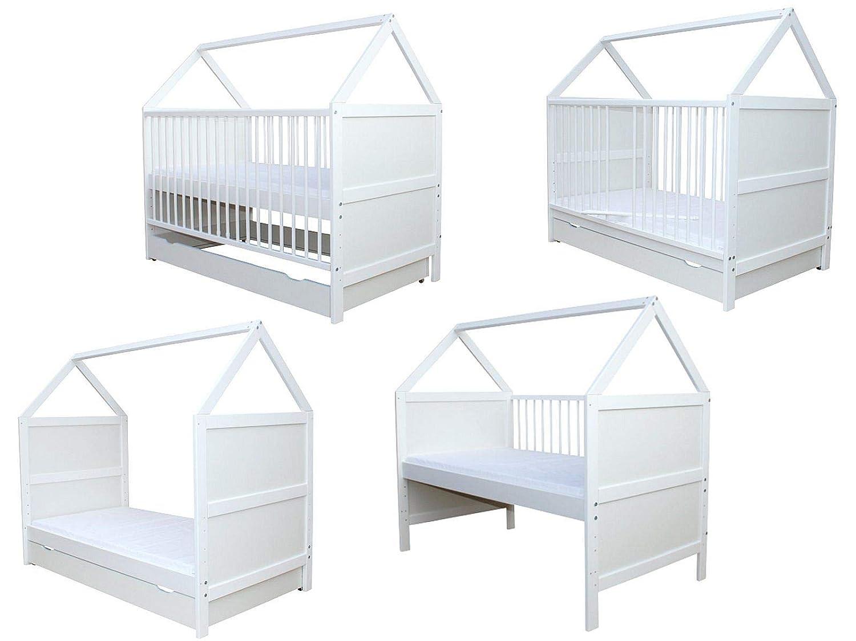 Babybett Kinderbett Juniorbett Haus 140x70cm mit Matratze und Schublade weiss