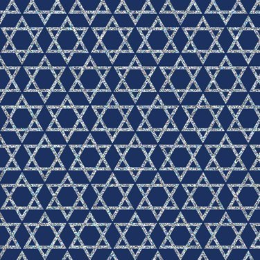 "Silver Stars of David on Blue Gift Wrapping Paper Flat Sheet 24"" x 6"