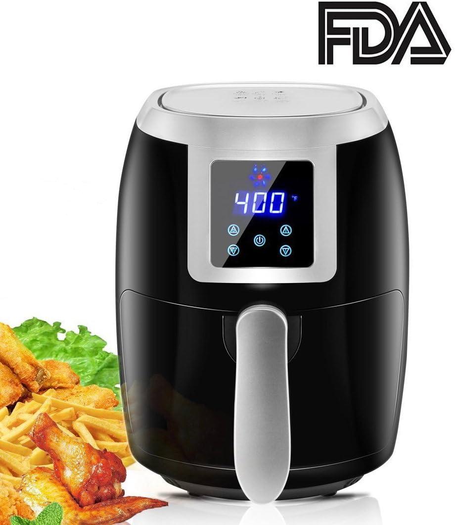 ToBox TB-AF004 Air Digital Compact Fryer with Cookbook Small Air Fryers 2.2 Quart Flat Basket, black